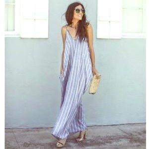 Elan Blue Stripe Cover up Maxi Dress - M
